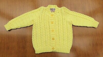 """Yellow Hand Knitted Baby Cardigan 12-18 Months, Chest 20"""" (50cm) 100% Acrylic DK"""