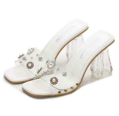 eb77bcc9524 Womens High Heel Clear Mules Slides Shoes Slip On Open Peep Toe Sandals  Shoes