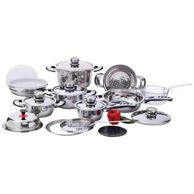 22pc 12-Element, High-Quality, Heavy-Duty Stainless Steel Cookware KT22