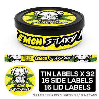 LEMON STARDAWG Cali pressitin tuna Tin Labels Stickers RX Medical HIGH QUALITY
