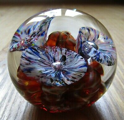 Stunning Jon Sawyer Canadian Art Glass Paperweight Signed Sawyer 1997