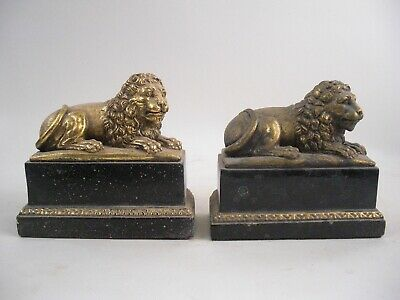 Pair Borghese Gold Gilt Lion Bookends Marbleized Base French Grand Tour Style