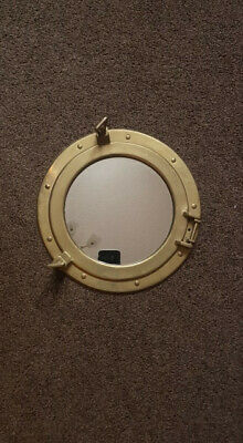 Vintage  Brass Porthole Maritime Nautical Ship  Wall Mirror With Voyage Cheque