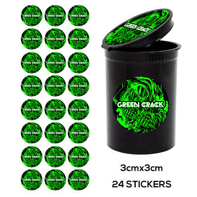 24x GREEN CRACK  pop top Labels Stickers RX medical Cali TIN CAN JAR POT