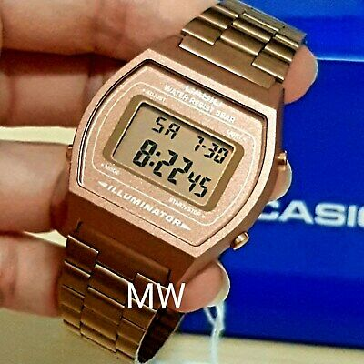 New Casio Vintage Rose Gold Digital Stainless Steel Watch B640WC-5ADF B640WC-5A