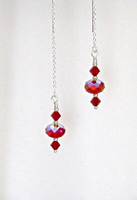 *IAJ* STERLING SILVER Ear Threader Earrings w/ DARK RED AB SWAROVSKI CRYSTALS