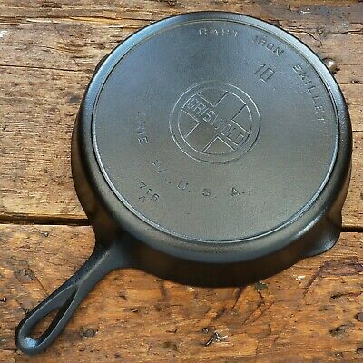 Vintage GRISWOLD Cast Iron SKILLET Frying Pan # 10 LARGE BLOCK LOGO - Ironspoon