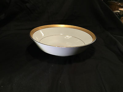 "REGENT ROUND VEGETABLE SERVING BOWL by MIKASA 9"" Fine Gold Encrusted Geometric"