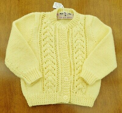 """Yellow Hand Knitted Baby Cardigan, 12-18 Months, Chest 20"""" (50cm) Acrylic DK"""