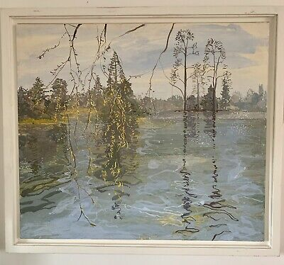 Ruth STAGE NEAC, 'Panorama with willow at Kew' egg tempera gesso board painting