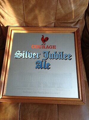 vintage Courage Brewery pub mirror Silver Jubilee Ale 1977 perfect condition