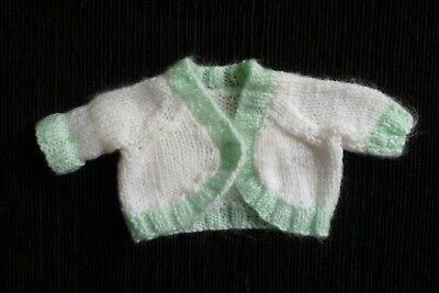 Baby clothes UNISEX BOY GIRL premature/tiny<4lb/1.8kg white/aqua bolero cardigan