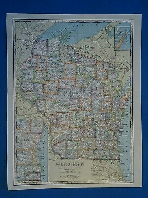 Vintage 1941 WISCONSIN Map ~ Old Antique Original Atlas Map 20819