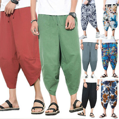 369c53b9510 Plus Size Men Wide Leg Hippie Harem Pants Baggy Loose Trousers Boho Yoga  Bottoms