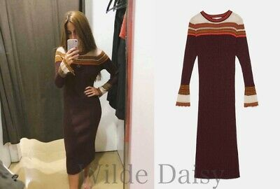 0361657b Zara New Long Shiny Dress Maxi Midi Maroon Red Knitted Fitted Striped Size S /M