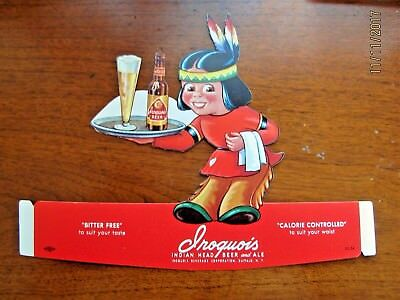 Iroquois Indian brewery beer counter top advertisement 1950's. New Old Stock.