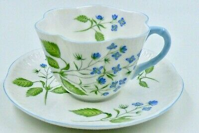 SHELLEY Fine Bone China American Brooklime Tea Cup and Saucer Made in England