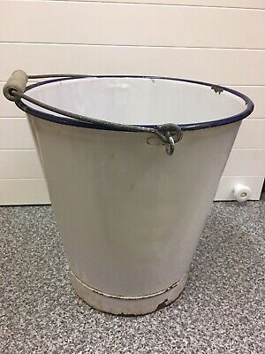 "Old Vintage Retro Shabby Chic 11"" White Enamel Bucket Pail Planter Navy Blue Rim"