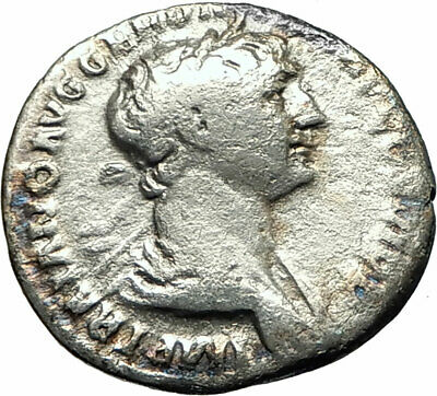 TRAJAN 106AD Rome Silver Ancient Roman Coin Nude Genius Protection spirit i75833