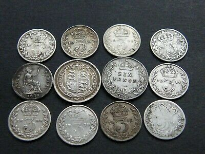 Joblot Bulk Lot Mixed Old British Silver Coins 1836 William IV Groat , Victoria