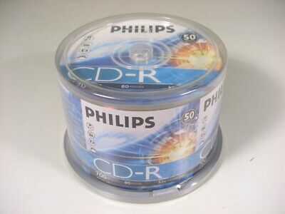 50pcs PHILIPS Blank CD-R CDR Recordable 52X 80min Media Disc.