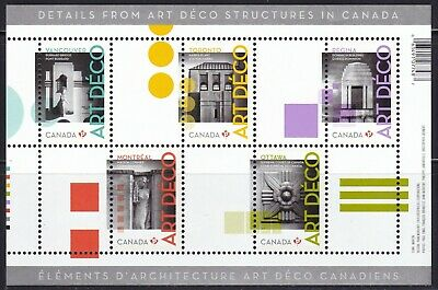 Canada 2011 # 2471 Architecture- Art Deco Souvenir Sheet Of 5 Stamps Mnh