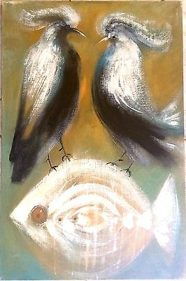 1960's Modernist Painting with Fish Listed Artist