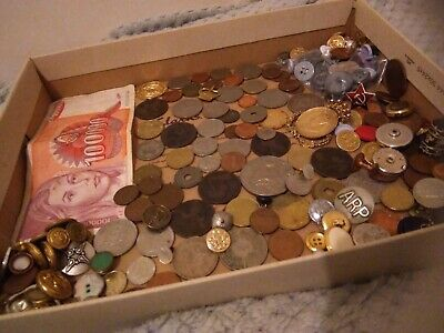 Job Lot Of Old Coins, buttons and bits in a Vintage Tin.