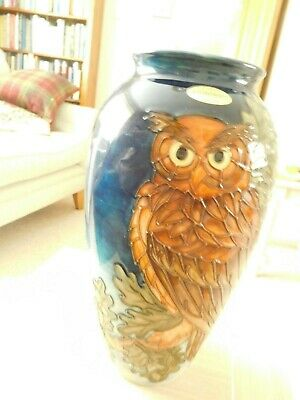 Moorcroft Large Sally Tuffin 'EAGLE OWL' vase