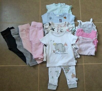 12 x Bundle of Baby Girls Tops Trousers Bodysuits Age Size 3-6 months