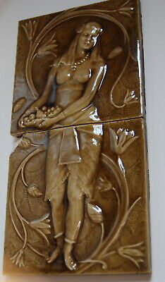 Antique AETCO High Relief Semi-Nude Egyptian Woman Pair of Tiles- Floral- Plants