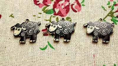Sheep charms 2 bronze pendant jewellery supplies C657