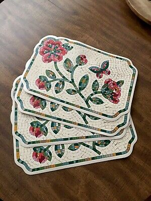 Set Of 4 Plastic Coated Wipeable  Placemats Of Flowers Looks Like Tile Design
