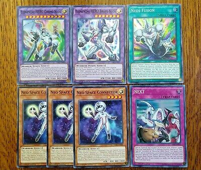 Elemental HERO Neos Fusion + Brave Cosmo Neo Space Connector NEXT NM 1st Yugioh