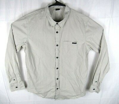 4aa62686fb Oakley Button Up Shirt Mens Large Long Sleeve Beige Chest Pocket Embroidered
