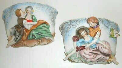 Vintage Wall Pockets Pair 3D Colonial Man & Woman ~Made in Japan