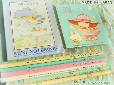 🌤 TINY CANDY Vintage Japan 1980 Gakken Notebook Adesivi Stickers Matite Pencils