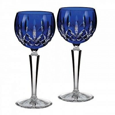 New Geniune Waterford Crystal Lismore Prestige Cobalt Hock Pair