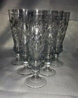 6 x Whitefriars Crystal Garland Cut Glass Champagne Flutes Glasses