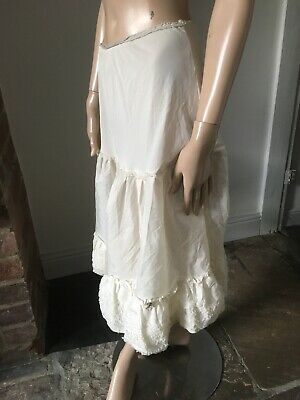 Vintage old antique 30s 40s knee length slip under skirt petticoat ivory white S