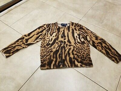 9e23093965bb Polo Ralph Lauren Girls Sweater 3T Leopard Print Cotton Wool Excellent  Condition