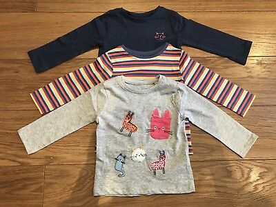 Next Girls 3 Pack Cat/llama Long Sleeved Winter Tops Age 9-12 Months New!!