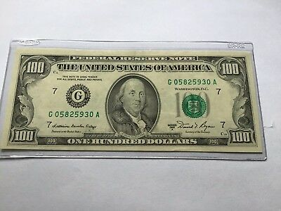 1981A Federal Reserve One Hundred 100 Dollar Franklin Note Bill A Series Chicago