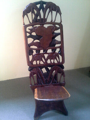 Vintage African Carved Hard Wood Chair Art