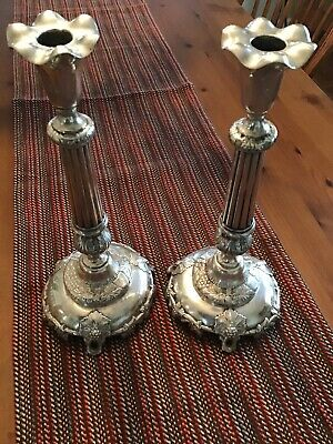 Pair Russian Provincial 84 Silver CANDLESTICKS, MARKED A.H. KPEMHERG