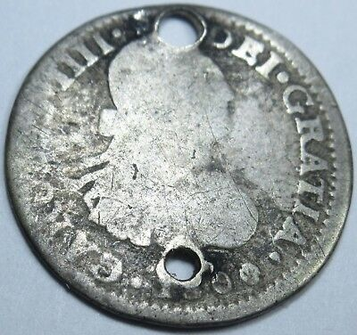 1800 Spanish Silver 1/2 Reales Piece of 8 Real Coin US Colonial Pirate Treasure