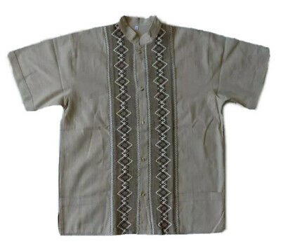 Mens Handmade Traditional Mexican Guayabera Shirt Medium XL Fiesta Wedding