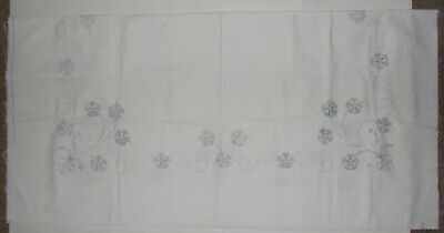 "Vintage Stamped Tablecloth to Embroider Approx 52"" Square Flowers and Bows Linen"