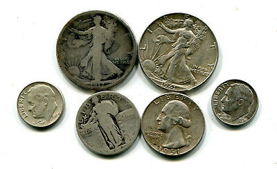 Lot of six 90% silver US coins!  #100