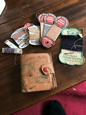 Vintage Sewing Kit - Travel- Threads - Leather Case